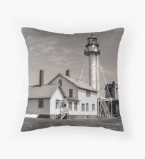 Whitefish Point Lighthouse - Sepia/Black & White  Throw Pillow