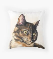 Miss Cat - Tortoiseshell Cat Painting Throw Pillow