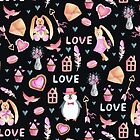 «Valintine`s day art. Conejos, pinguinos» de JuliaBadeeva
