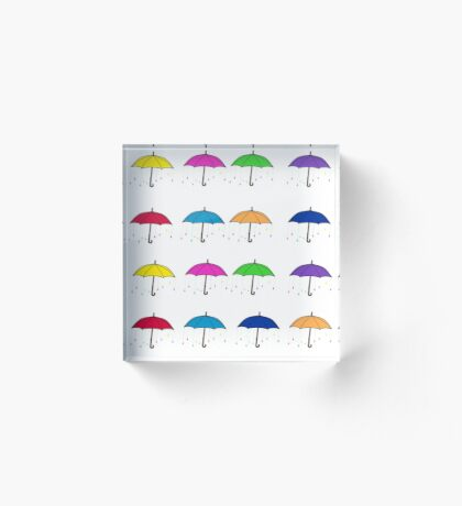 Colorful Umbrellas Acrylic Block