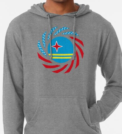 Aruban American Multinational Patriot Flag Series Lightweight Hoodie