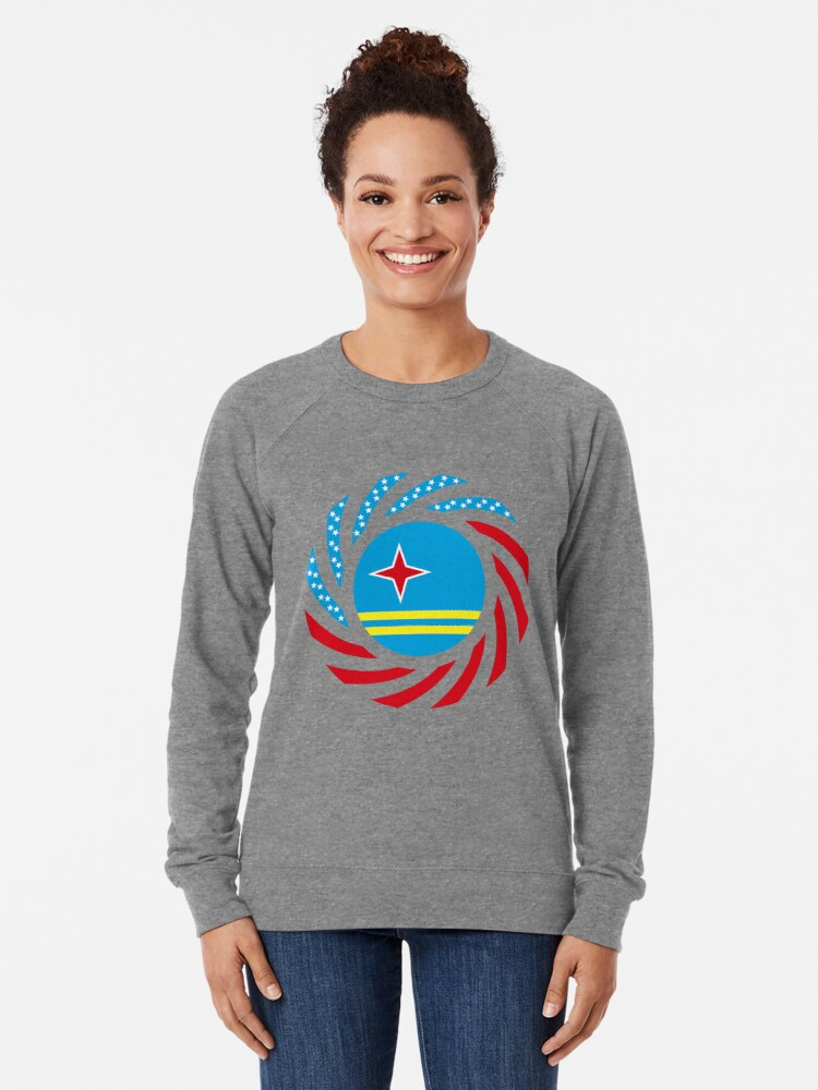 Alternate view of Aruban American Multinational Patriot Flag Series Lightweight Sweatshirt
