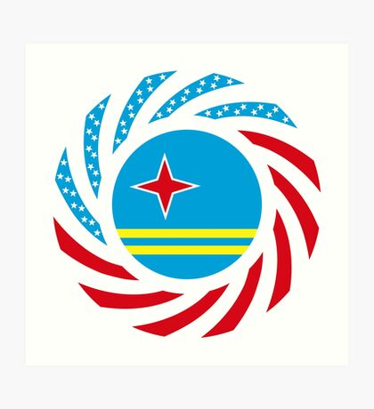 Aruban American Multinational Patriot Flag Series Art Print