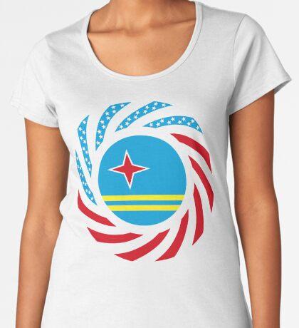 Aruban American Multinational Patriot Flag Series Premium Scoop T-Shirt