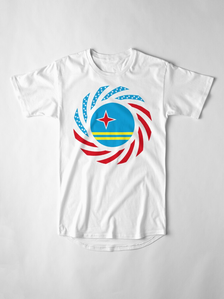 Alternate view of Aruban American Multinational Patriot Flag Series Long T-Shirt