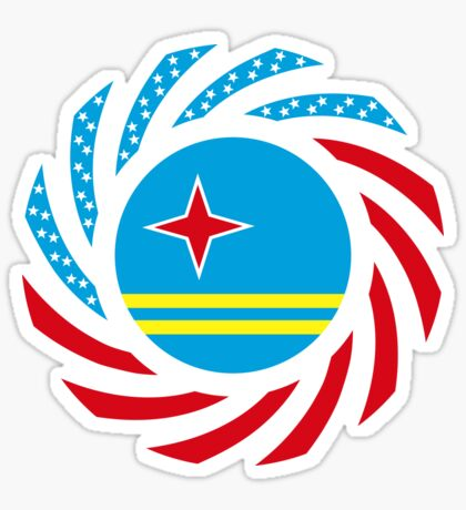 Aruban American Multinational Patriot Flag Series Glossy Sticker