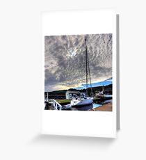 Yacht under a Dappled Sky Greeting Card