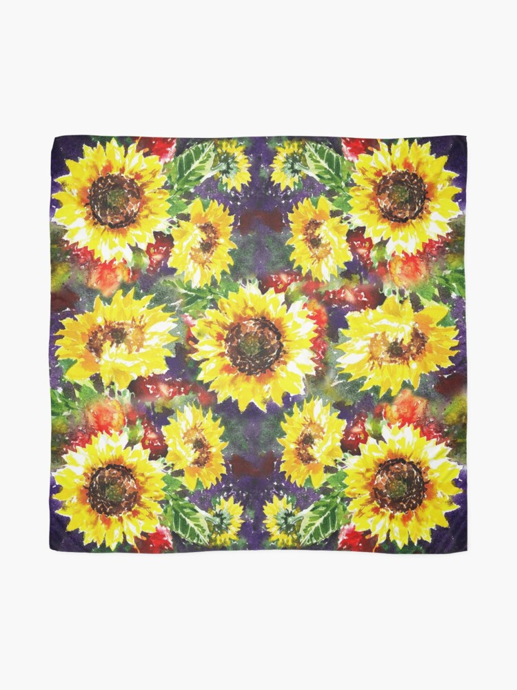 Alternate view of Impressionistic Sunflowers Pattern Scarf