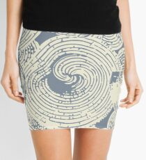 Shells and Swirls, Cool gray and cream Mini Skirt