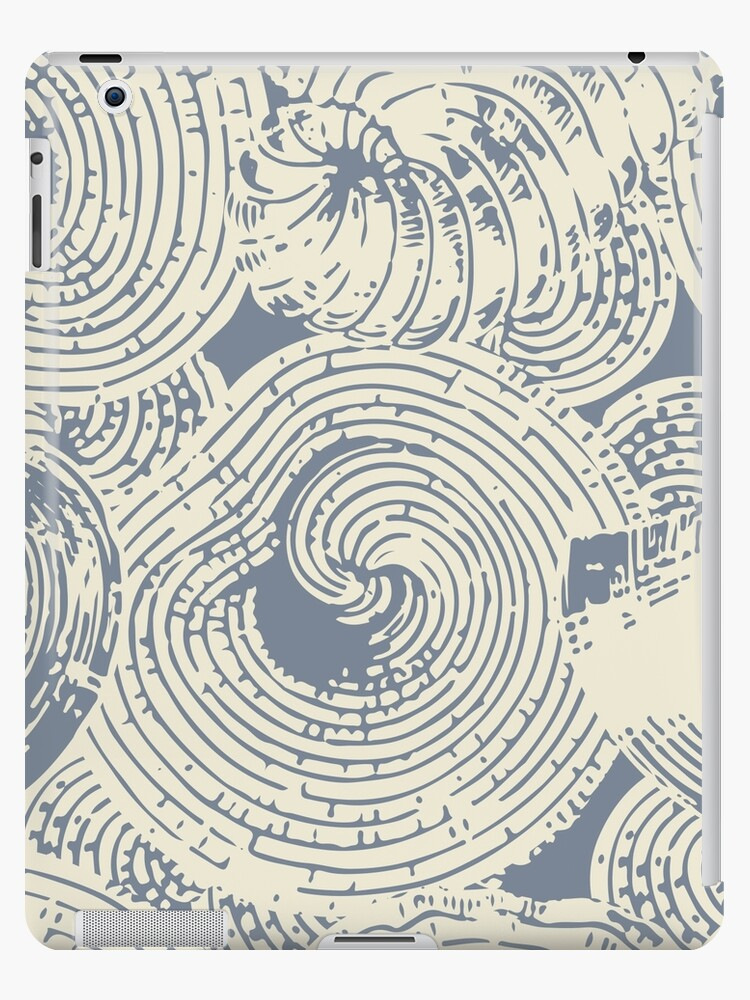 Shells and Swirls, Cool gray and cream by Kendra Shedenhelm