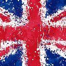 «Bandera del Reino Unido - Pintura de acción desordenada» de Garyck Arntzen