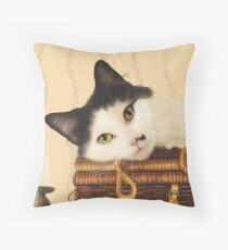 Cat on a picnic basket Throw Pillow