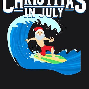 Christmas In July Santa Art | Hawaii Yuletide Gift by melsens