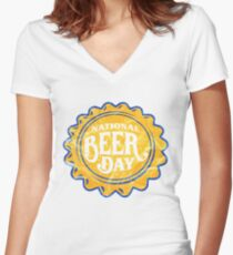 'National Beer Day' International Beer Day  Women's Fitted V-Neck T-Shirt