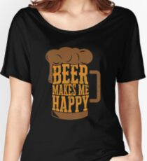'Beer Makes Me Happy' International Beer Day  Women's Relaxed Fit T-Shirt
