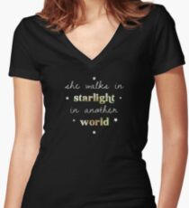 She walks in starlight in another world Women's Fitted V-Neck T-Shirt