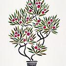 Bonsai Fruit Tree - Sage & Burgunder Palette von Cat Coquillette
