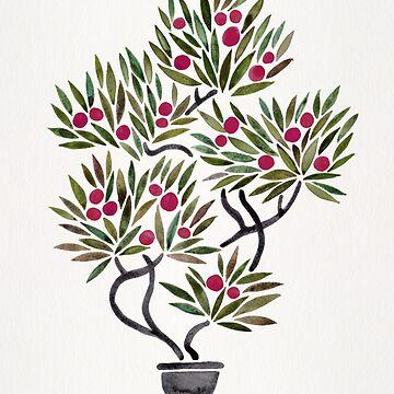 Bonsai Fruit Tree – Sage & Burgundy Palette by catcoq