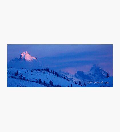 Teton Morning Blues (and Pinks) Photographic Print
