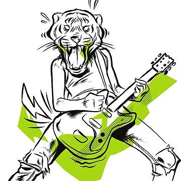 Tiger guitar rock music guitarist gift by Rueb
