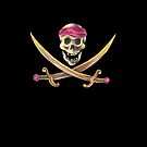 A Swashbuckling Pirate Skull and cross swords Jolly Roger flag on a black background by CindyDs