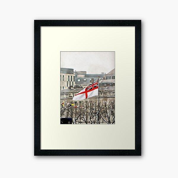 The White Ensign Flying on HMS Belfast Framed Art Print