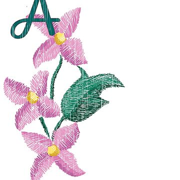 Monogrammed Gifts Pink Flowers Initial A by Shasta9876