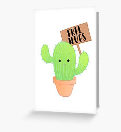 Cactus - Free Hugs - Cacti Puns - Plant Puns - Birthday - Valentines - Cute Puns Greeting Card