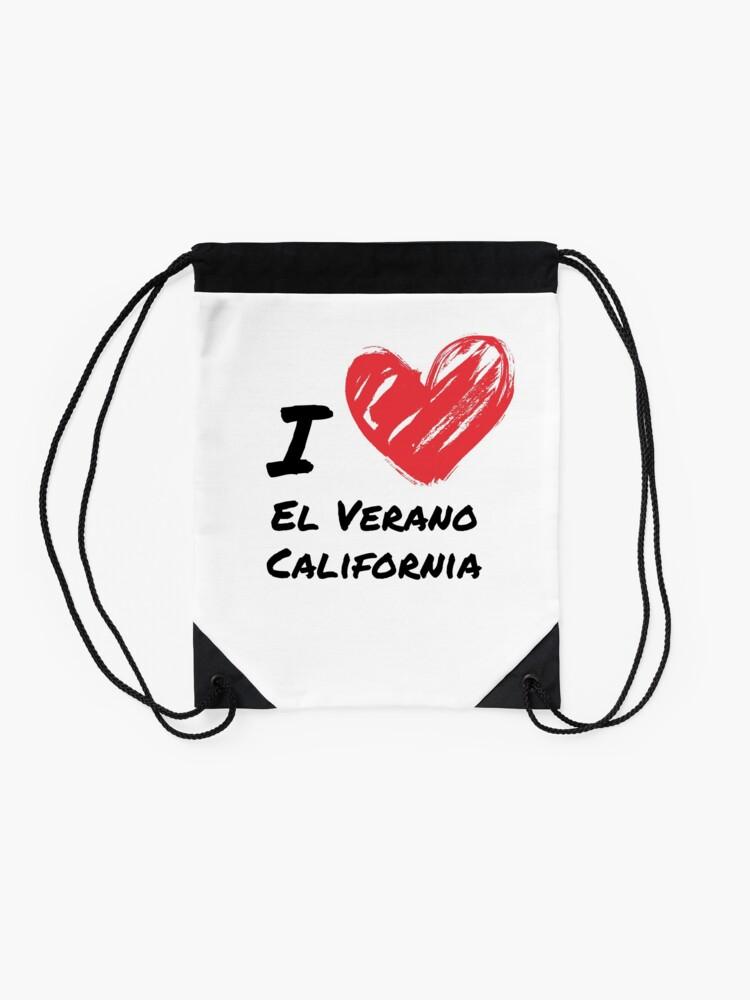 Alternate view of I love El Verano California Drawstring Bag