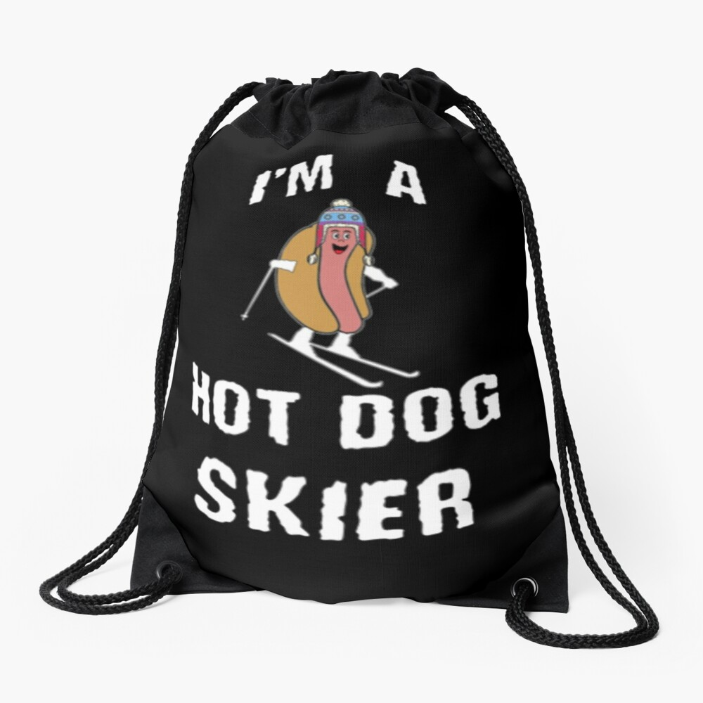 Ski Shirt, Hot Dog Skier, Funny Gift Kids T-Shirt Drawstring Bag