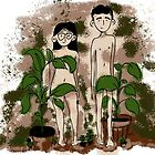 Adam & Eve (or a modern couple really into nudity and houseplants) by Izzy Sneed