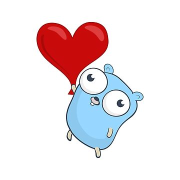 The Go Gopher: Heart Balloon by hellkni9ht
