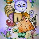 Cat whimsy artwork by Angieclementine  by Angieclementine