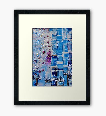Blue Bricks Framed Print