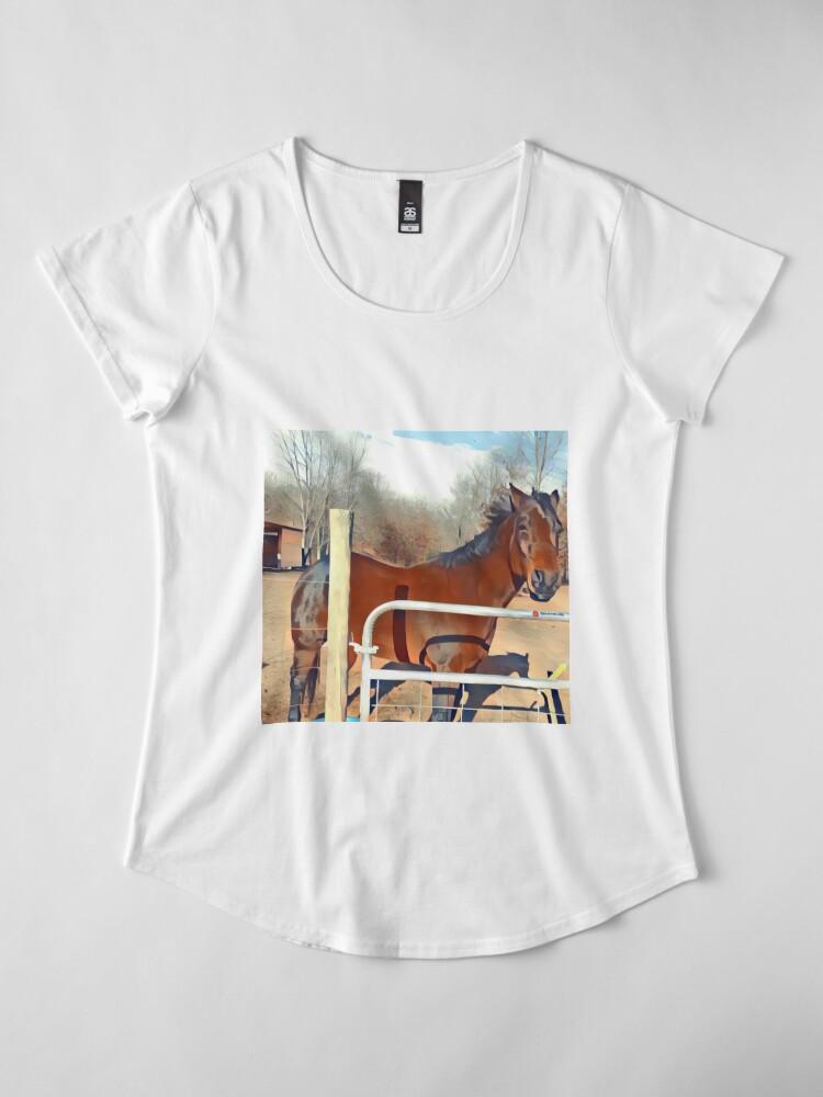 Alternative Ansicht von Braunes Pferd Bild Premium Rundhals-Shirt