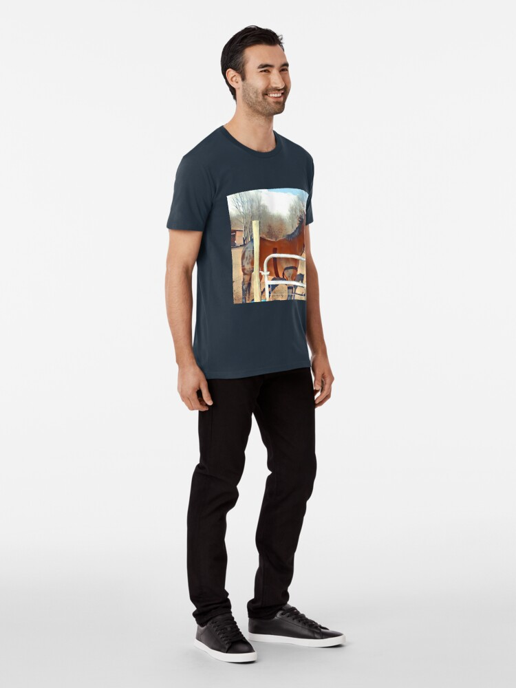 Alternative Ansicht von Braunes Pferd Bild Premium T-Shirt