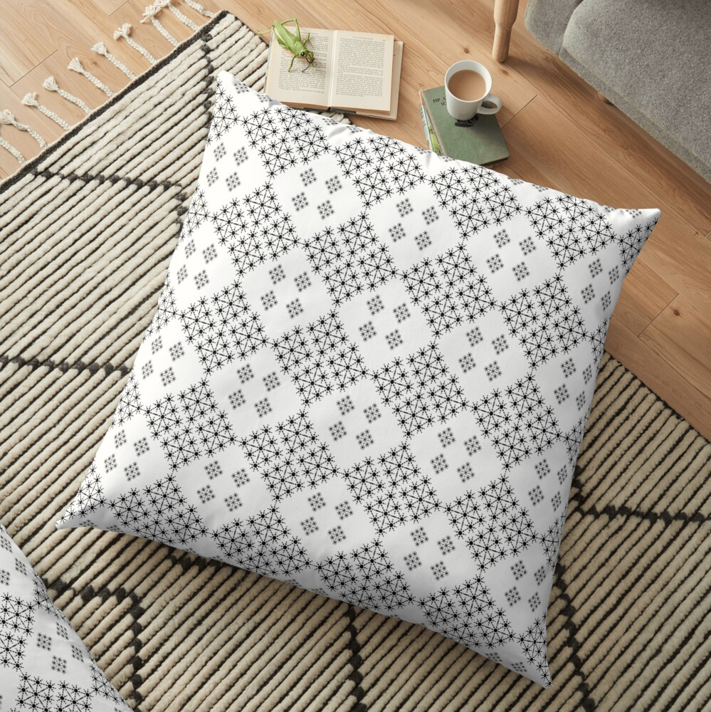 Black and White  Lace  Starlight Floor Pillow