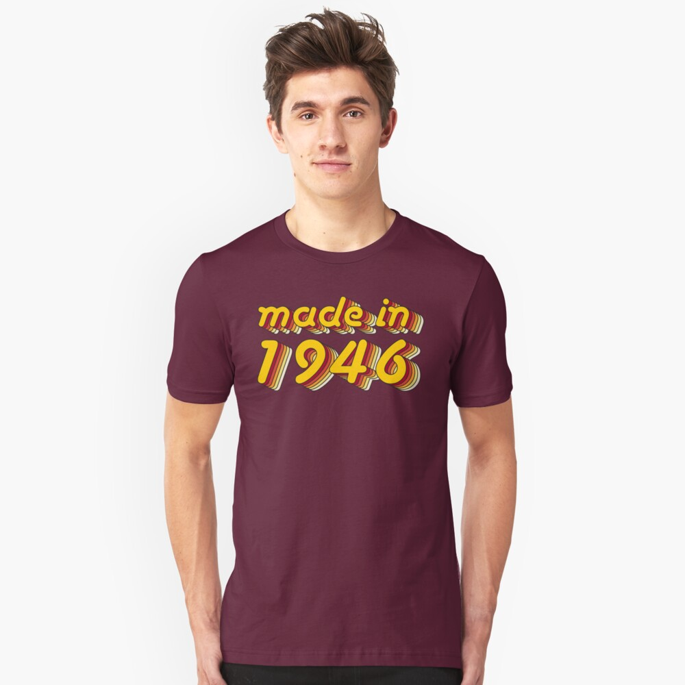 Made in 1946 (Yellow&Red) Unisex T-Shirt Front