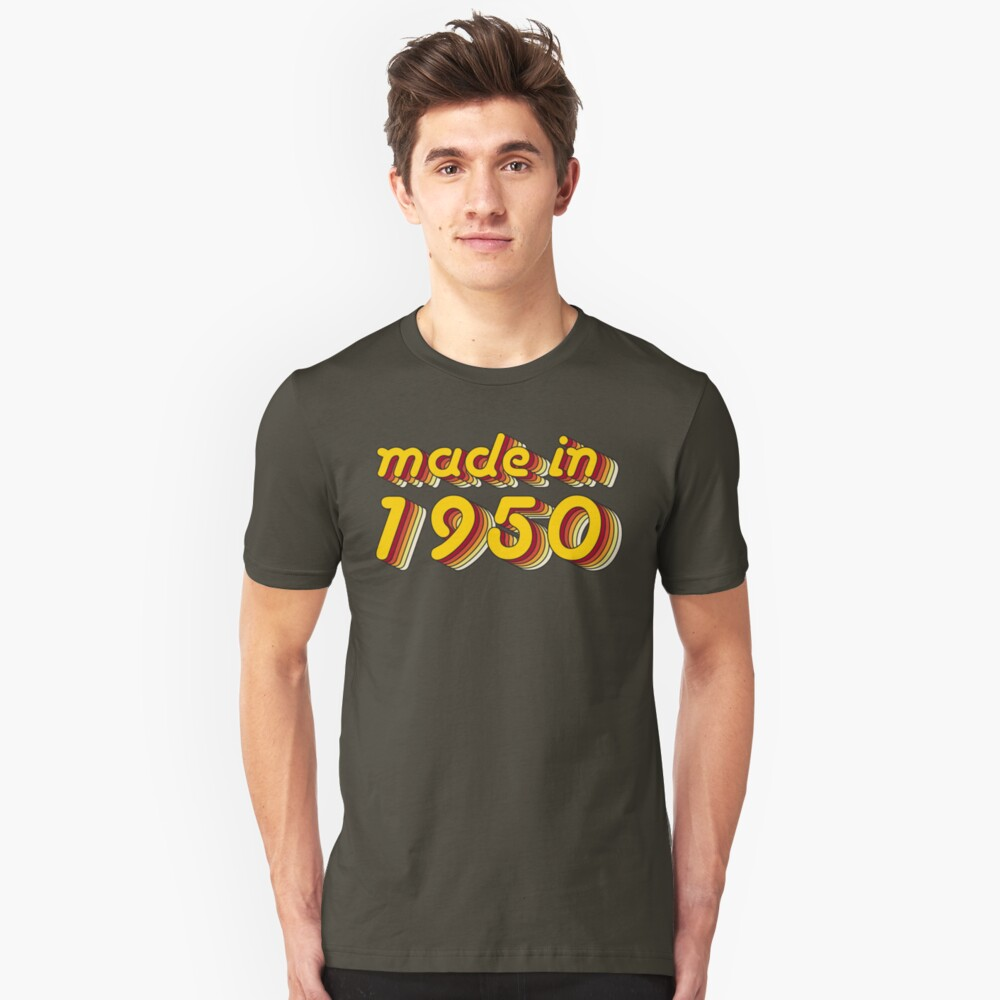 Made in 1950 (Yellow&Red) Unisex T-Shirt Front