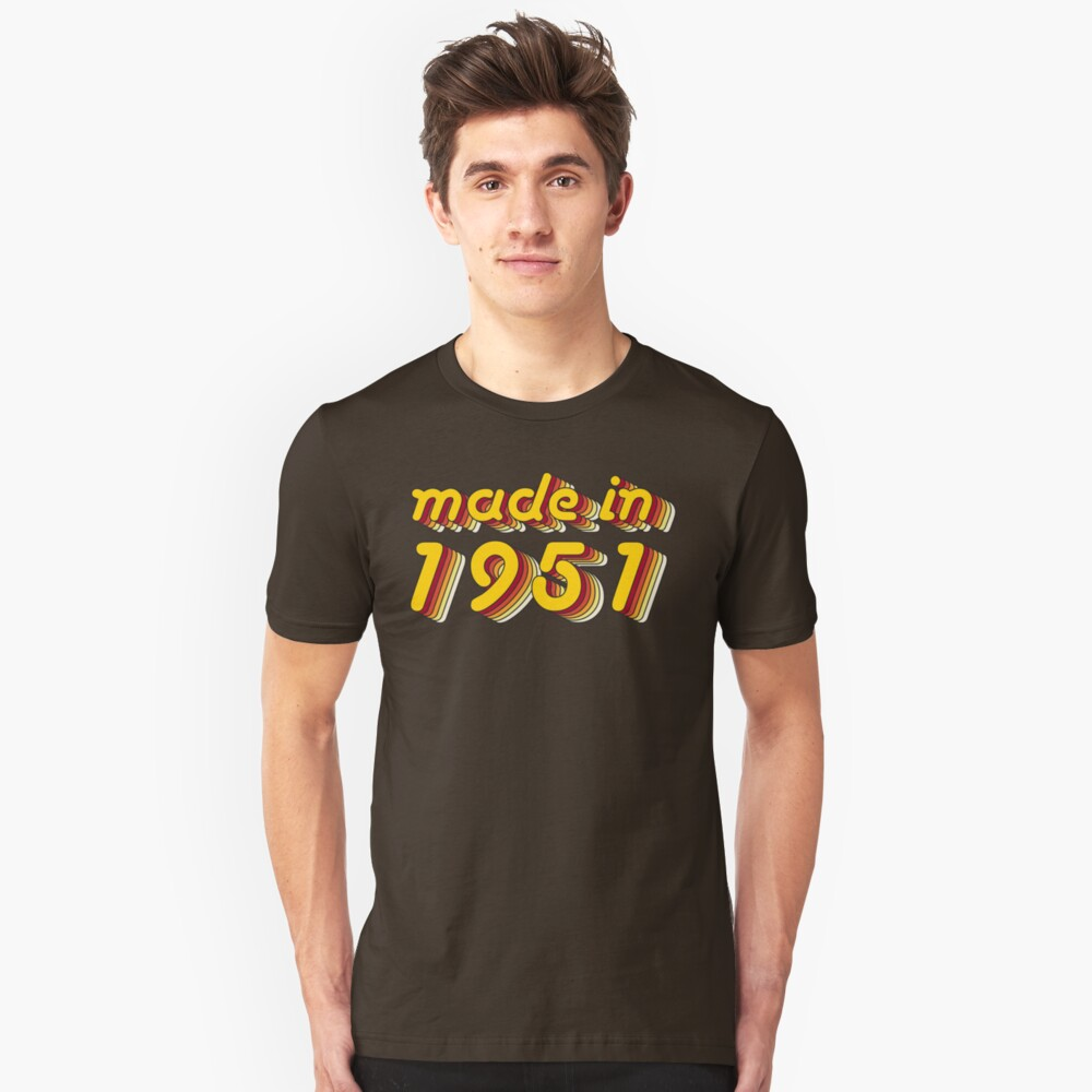 Made in 1951 (Yellow&Red) Unisex T-Shirt Front