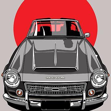 Datsun 2000 Fairlady Roadster SR 311 Rising Sun Art by monkeycom