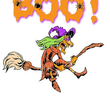 Boo! crazy Witch on Broom Halloween Holiday T shirt by we1000