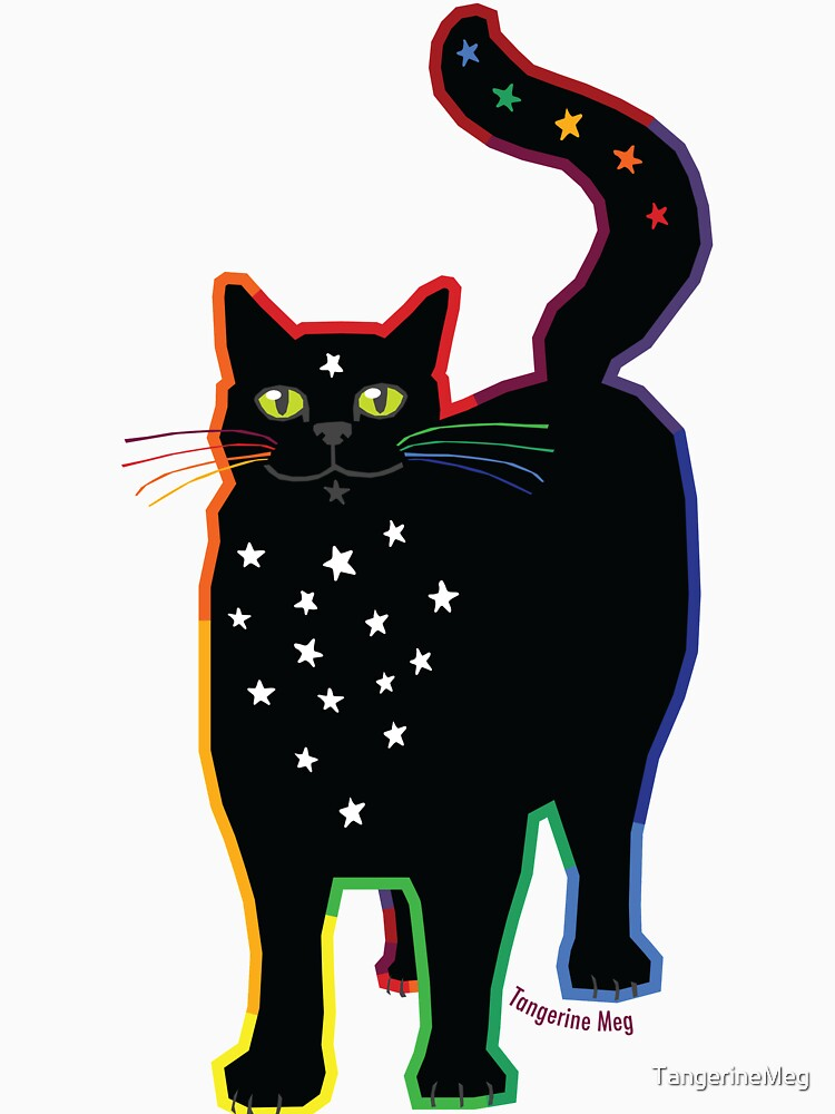 Black Cat with Stars by TangerineMeg