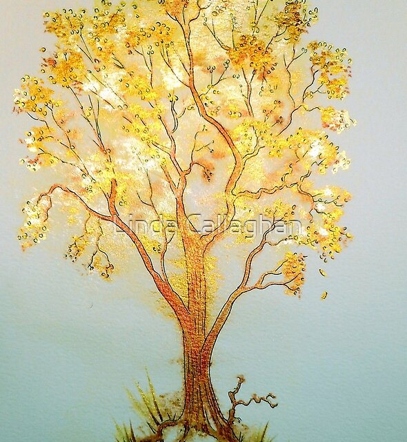 Golden Whispers - Trees by Linda Callaghan