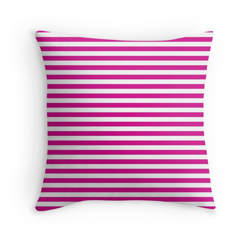 Large Shocking Valentine Pink and White Horizontal Deck Chair Stripes