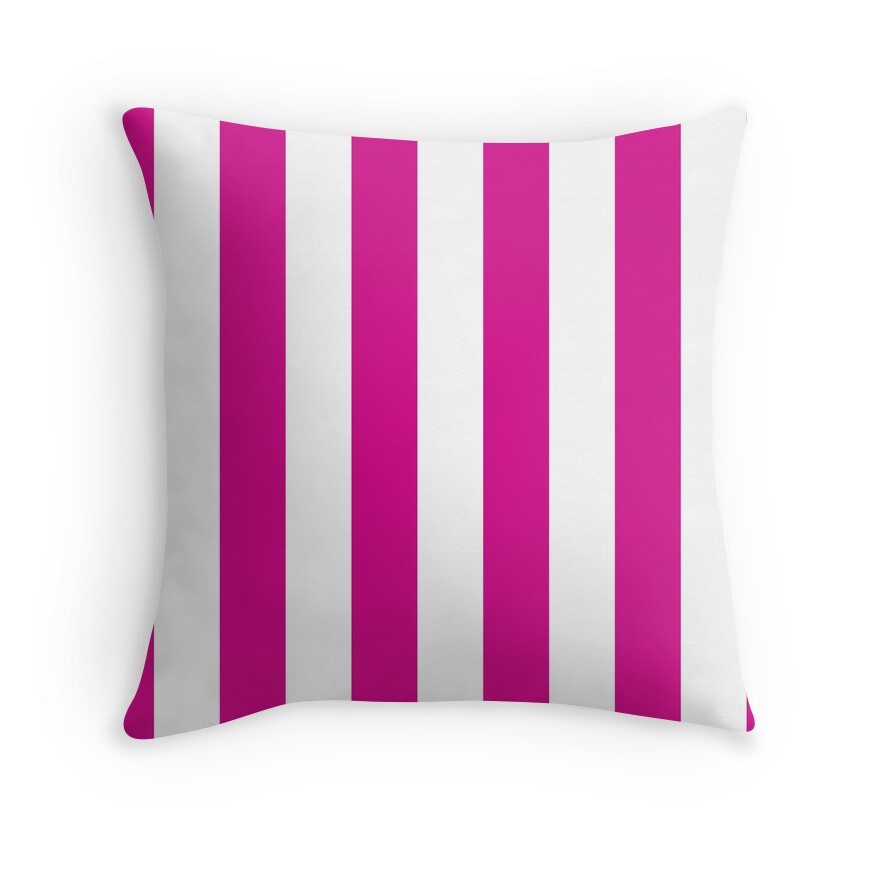 Large Shocking Valentine Pink and White Vertical Cabana Tent Stripes