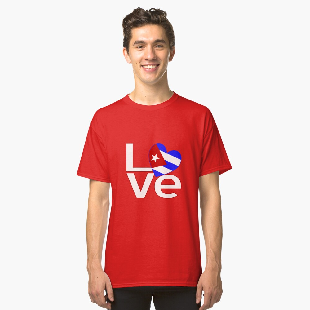 White Red Cuba LOVE Classic T-Shirt Front