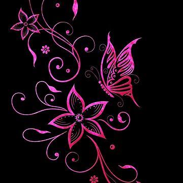 Blumen Sommer Blumenranke Schmetterling Pink Aquarell von ChristineKrahl