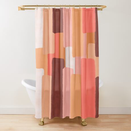 Line In Coral #redbubble #abstractart Shower Curtain