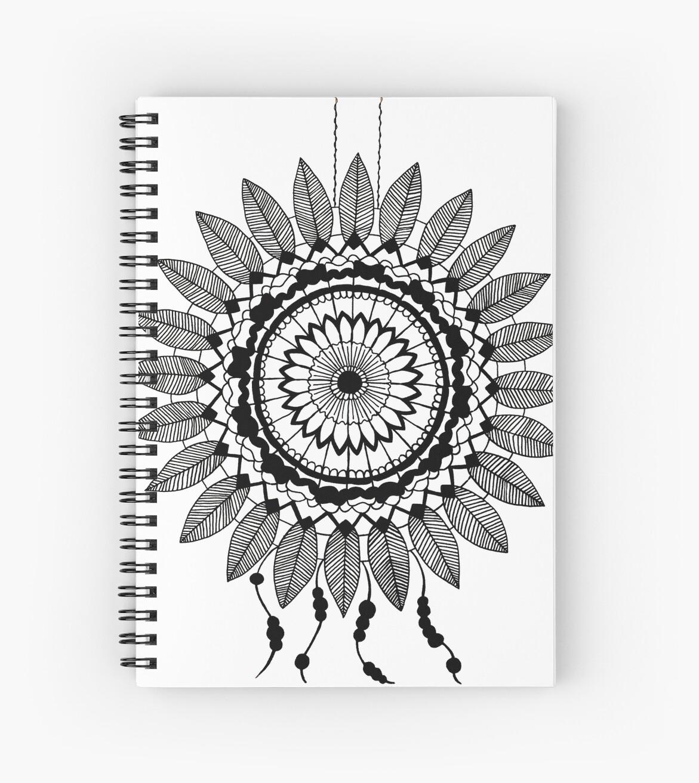 Cuadernos De Espiral Atrapasueños En Blanco Y Negro De Lizzyad